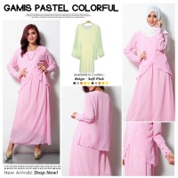 Gamis fashion Pinky Style double layer J040 elegan