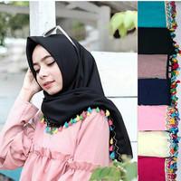 Jual Hijab syari / Hijab terbaru Segiempat Tassel Ekonomis (Renda Lokal) Murah