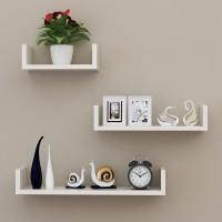 Jual Rak Dinding Minimalis Model U|Floating Shelves U Promo 3 Pcs - Putih Murah