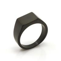 Cincin Tunangan Ring Titanium Black Simple Square Signet Ring Couple