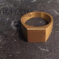 Cincin Emas Titanium Ring Gold Simple Square Cincin Pernikahan OOTD