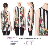 STRIPE FLOWER SLEEVELESS BLOUSE. Made in China - FASHIONme FO BRANDED
