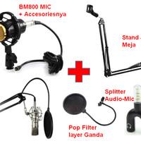 Paket Microphone Mic Kondenser BM 800 PAKET RECORDING Stand Pop Filter