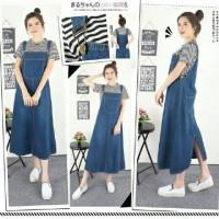Overall Wearpack Sandra Maxi Jeans Salur Set / setelan baju wanita
