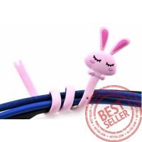 Penggulung penjepit Kabel earphone headset elastis lucu - KHE005