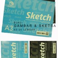 Buku Gambar & Sketsa A3 25 Lembar Utk Cat Air Pensil Pen Sketch Book