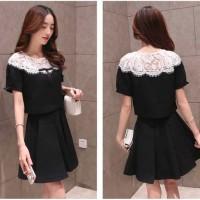 Dress Setelan Wanita Import Korea Baju Pesta Katun Brokat Hitam 500