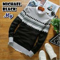 Jual Baju / Sweater Rajut Pria Michael Sweater Black Murah