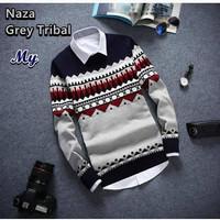 Jual Baju / Sweater Rajut Pria Naza Grey Tribal Murah