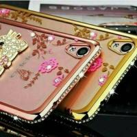 Samsung galaxy J 7 prime case softcase flower list diamond +iring