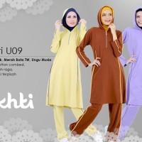 Baju Olahraga Set Stel Ukhti U09 Kaos 20s Syari Branded Ukuran XL