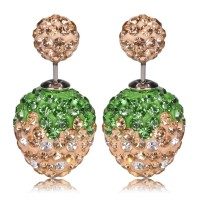 Anting strawberry tusuk bola diamond champagne / Anting Forever 21