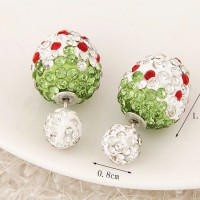Anting strawberry tusuk bola diamond putih / Anting Forever 21