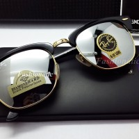 BEST SELLER !! Rayban Clubmaster 3016 GOLD Frame w/ MIRROR Lens