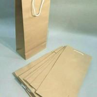 Paper Bag Botol Paper Bag Karton Coklat Polos Tinggi 33cm