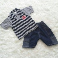Baju Setelan Anak Laki-Laki Rompi Lepas Garis