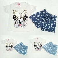 Baju Setelan Anak Perempuan Minnie Mouse Manik Celana Biru Polkadot