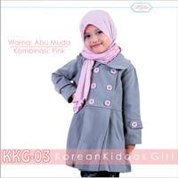 Jual Jaket Anak Perempuan Abu Kancing Pink Blazer Anak Cewek 3 Murah
