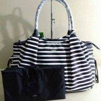 KATE SPADE CLASSIC NYLON STEVIE BABY BAG BLACK CLOTTED CREAM