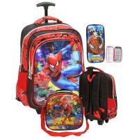 Tas Trolley Anak Sekolah SD Import Spiderman 5D Timbul Dan Lunch Bag