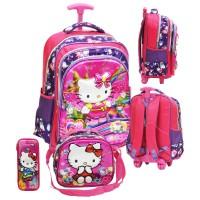 Tas Trolley Anak SD Import Hello Kitty 5D+Lunch Bag + Kotak Pensil