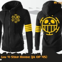 Jaket Sweater Hoodie Anime One Piece Trafalgar Law - 4 Strip Hoodie