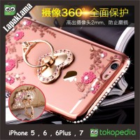 Jual Case Flower Swarovski Diamond iRing iPhone 5 5s 6 6s 6Plus 7 Softcase Murah