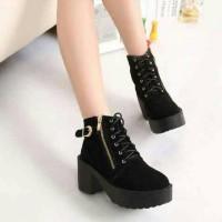 Jual Sepatu Wanita | HEEL BOOT COBOY BLACK | Boots Heels | Boots Coboy Murah