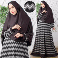 Gamis Syari Long Dress Hijab Vanilla Hitam Bagus Fashionable