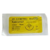 Benang Jahit Plain Catgut +Jarum OneMed pcs