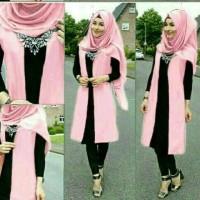 Baju wanita set hijab pink K058 style modis Murah - FASHION CEWEK
