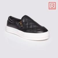 Jual Sepatu Wanita Slip On Black Gold Zipper Adorable JJ 88897087 Murah