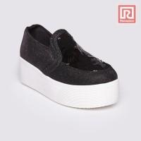 Jual Sepatu Wanita Slip On Glitter Black Adorable JJ 88864416 Murah