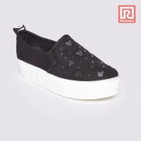 Jual Sepatu Wanita Slip On Mickey Mouse Black Adorable JJ 88886018 Murah