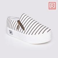 Jual Sepatu Wanita Slip On Striped White Adorable JJ 88887185 Murah