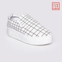 Jual Sepatu Wanita Slip On Plaid White Adorable JJ 88885299 Murah