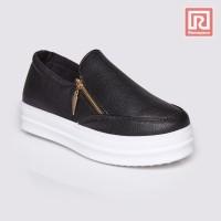 Jual Sepatu Wanita Slip On Black Leather Adorable JJ 88894480 Murah