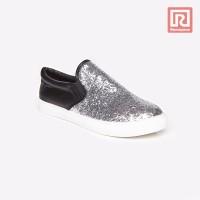 Jual Sepatu Wanita Slip On Black-Silver Adorable JJ 88886083 Murah