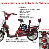 harga Sepeda Listrik Earth Platinum 48 V/12 A E-bike Earth Platinum Tokopedia.com