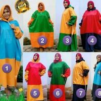 Jual Mantel gamis JUMBO/Jas hujan muslimah UKURAN BESAR warna kombinasi Murah