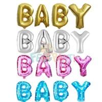Jual Balon Foil Huruf Angka warna Gold Silver , Pink & Biru Bermotif Murah