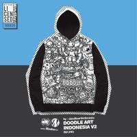 Jaket Hoodie Jumper Mindtees DOODLE ART INDONESIA V2 Black & White