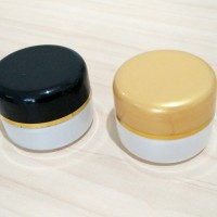 Botol Pot Hitam Emas Soft Putih List Gold / Wadah Tempat Kosmetik