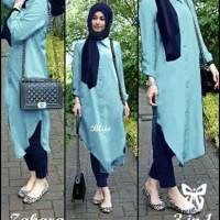 Zahara denim maroon set hijab 3in1 3 in 1 kemeja leg pash MURAH PROMO
