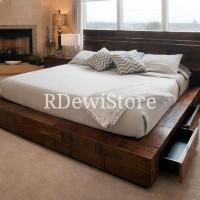 Tempat tidur, divan, dipan, ranjang, minimalis kayu jati laci