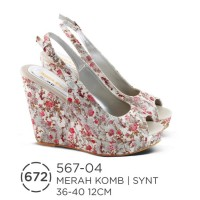 harga Sandal Wedges Wanita, Wedges Cantik Motif Bunga, Wedges Murah 567-04 Tokopedia.com