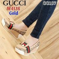 sepatu gucci wedges gold