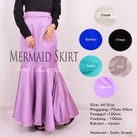 Jual Rok Pesta Panjang Polos Muslimah Mermaid Skirt / Rok Duyung Satin Murah