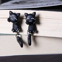 Jual anting clay kucing hitam smile handmade import Murah