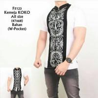 Baju Kemeja Koko Pria Putih W-Pocket Kombinasi Batik
